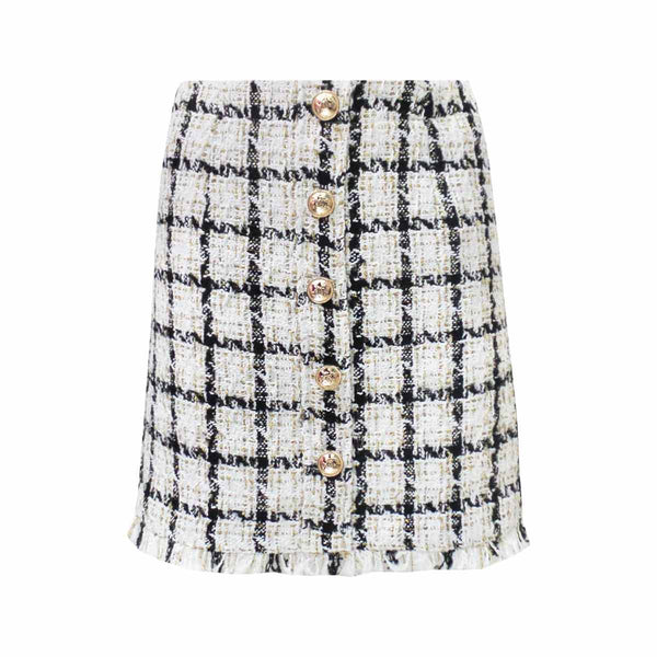TWEED SKIRT BUTTONS WHITE & BLACK-skirts-Le Musthave