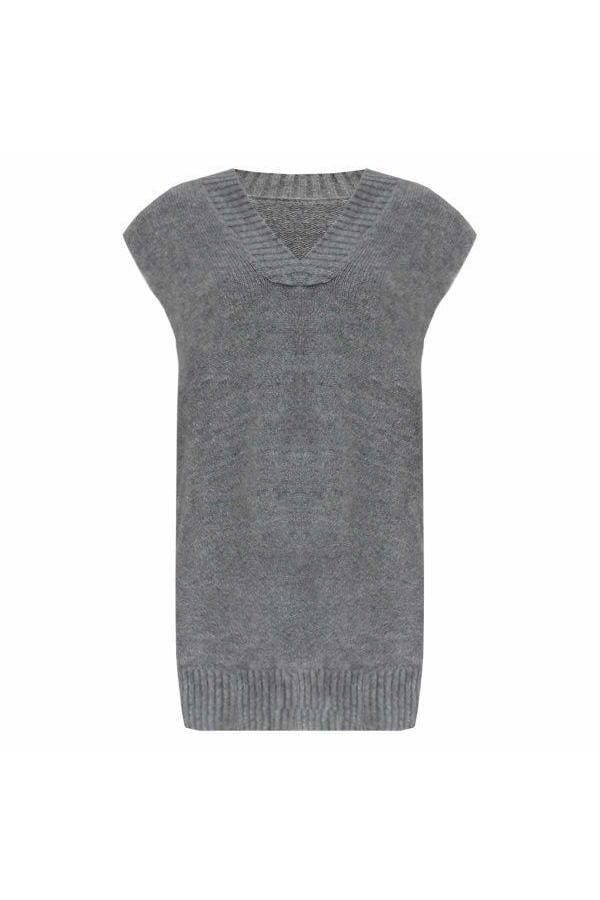 V NECK SPENCER LONG GREY-Le Musthave