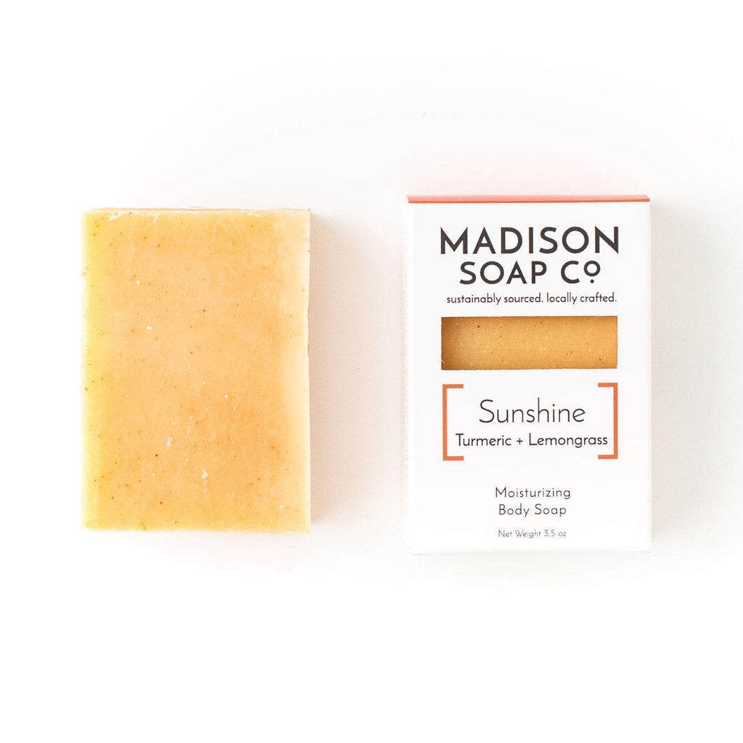 Sunshine, Turmeric + Lemongrass Certified Vegan Moisturizing Small-Batch Body Soap with Shea Butter and Avocado Oil. Organic Vegan and Rainforest Alliance CertifiedTM Moisturizing Handmade Bar Soap. - CraftSoap