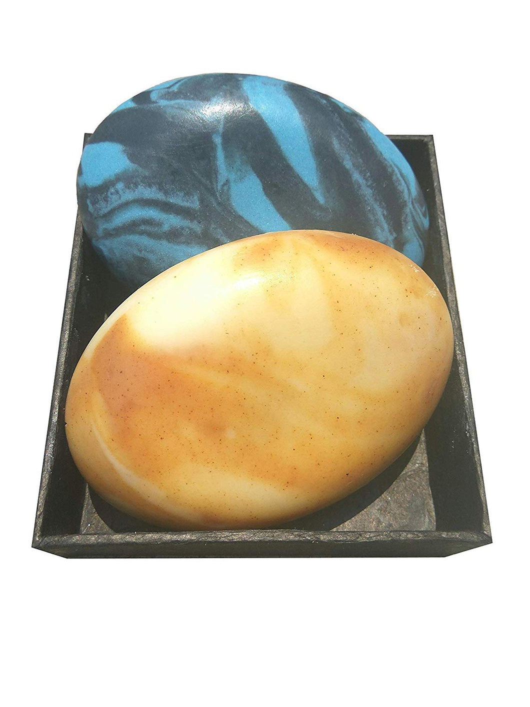 Touch Nature Sandalwood & Rose Soap and Sea Splash Activated Charcoal Stone Shaped Natural Handmade Soap with Handmade Paper Box. Bio-Degradable. Detoxifying. - CraftSoap