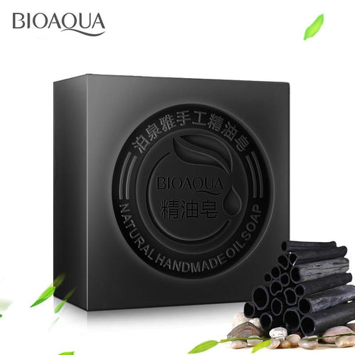 BIOAQUA Black Bamboo Charcoal Essential Oil Handmade Soap Acne Whitening Soap Deep Cleansing Oil-control Face Wash Hair Care - CraftSoap