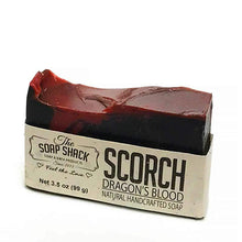 Load image into Gallery viewer, Dragons Blood Soap-Handmade Soap-Cold Process Soap-Activated Charcoal-Sandalwood-Myrrh-Patchouli-By The Soap Shack - CraftSoap