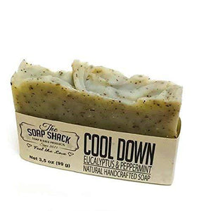 Eucalyptus Peppermint Soap-Handmade Soap-Cold Process Soap-Ground Spearmint leaves-By The Soap Shack - CraftSoap