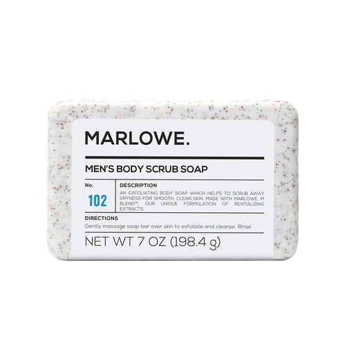 MARLOWE. No. 102 Men's Body Scrub Soap 7 oz | Best Exfoliating Bar for Men | Made with Natural Ingredients | Green Tea Extract | Amazing Scent - CraftSoap
