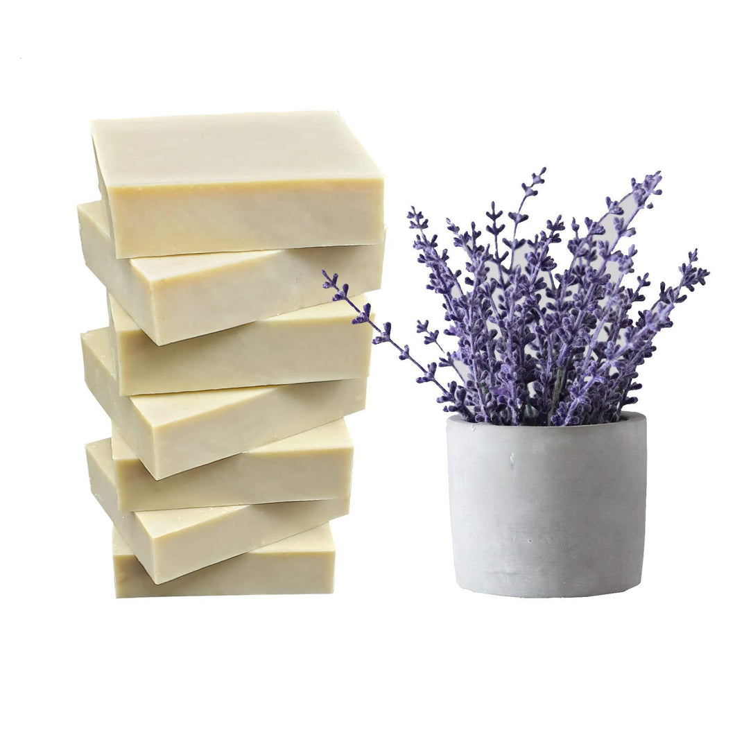 Natural Lavender Enhanced Pure Artisan Made Vegan Olive Oil Bar Soap Set from Mediterranean (Lavender Bars of 7) - CraftSoap