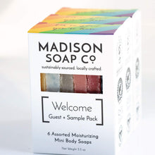 "Load image into Gallery viewer, ""Welcome"" Guest Soap and Sample Soap Pack, Organic Handmade Vegan Soap Stocking Stuffer - CraftSoap"