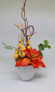 Mini Christmas Flower Arrangement with Berries and Poinsettia