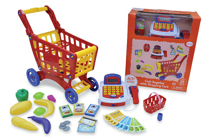 Mini Market Cash Register with Shopping Cart