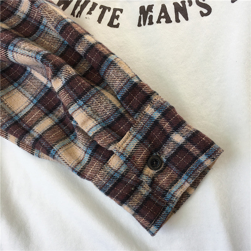 """Plaid Sleeved"" Tshirt"