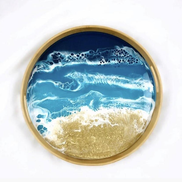 Round Bamboo Resin Serving Tray