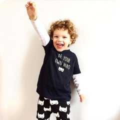 be your own hero cool monochrome kids outfit