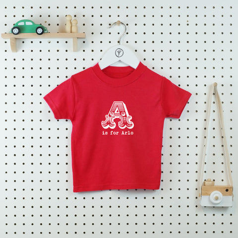 A is for...Personalised T-shirt - Little Whirlwinds cool baby clothes and cool older kids clothes and gifts