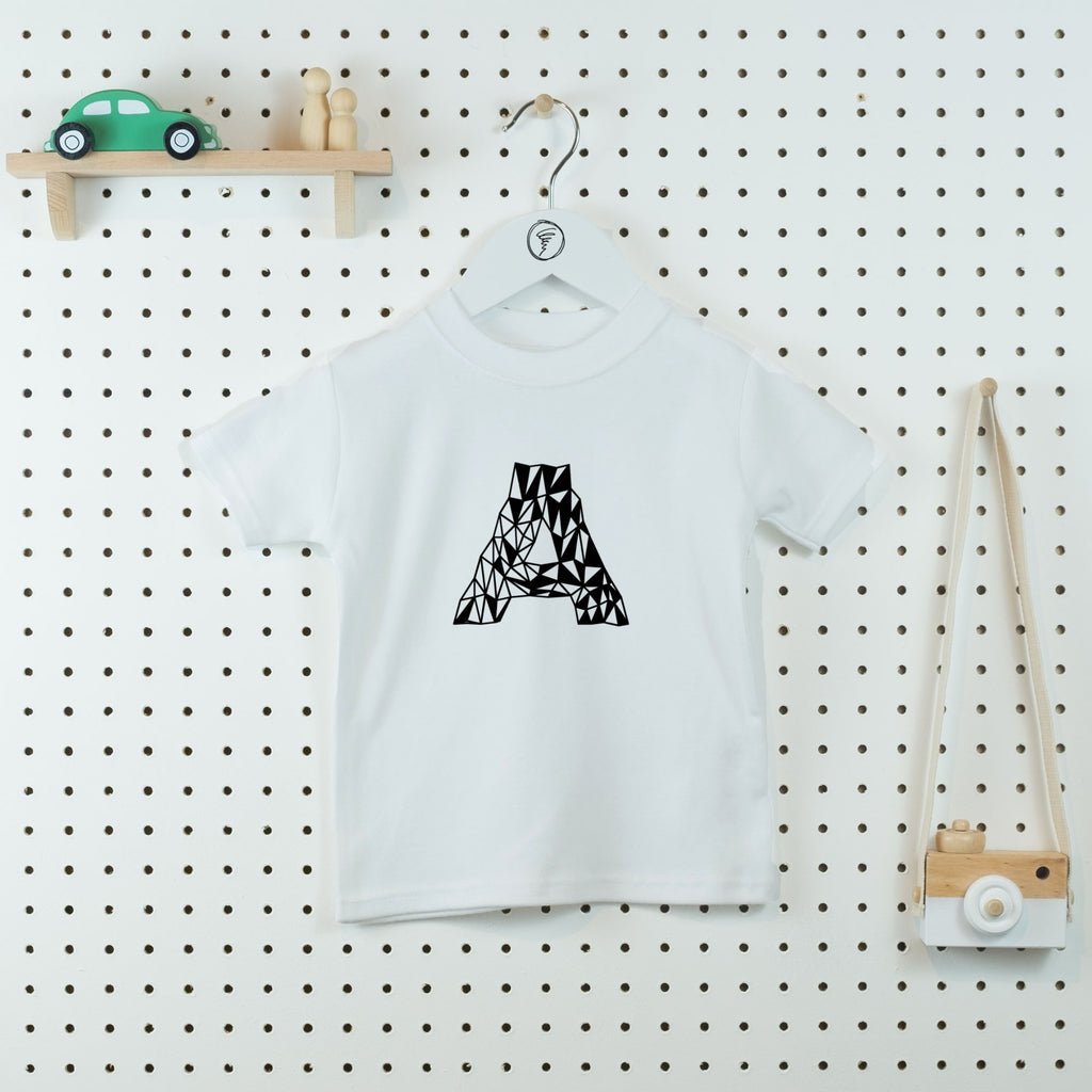 Geo Monogram Personalised T-shirt - Little Whirlwinds cool baby clothes and cool older kids clothes and gifts