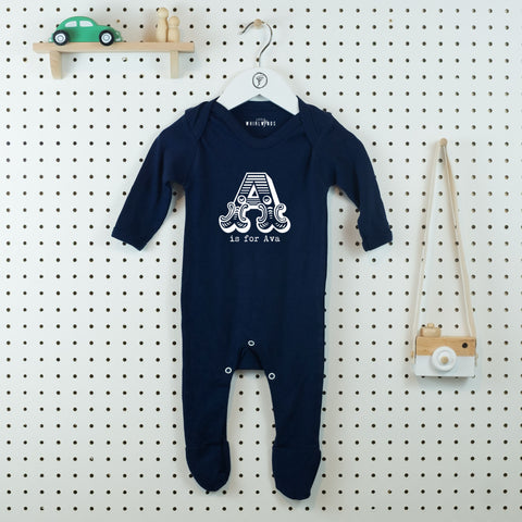 A is for...Personalised Baby Grow - Little Whirlwinds cool baby clothes and cool older kids clothes and gifts