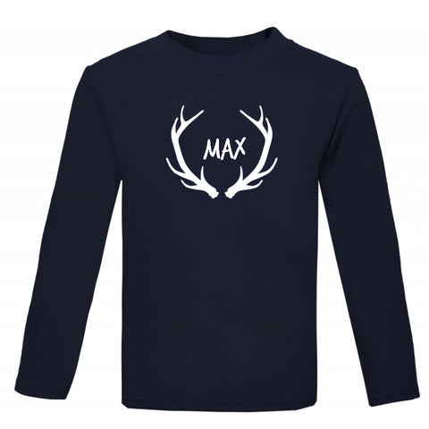 Antlers Personalised Kids' Christmas T-shirt - Little Whirlwinds cool baby clothes and cool older kids clothes and gifts