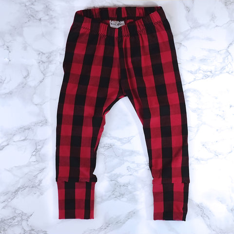 Buffalo Plaid Baby & Kids' Leggings - Little Whirlwinds cool baby clothes and cool older kids clothes and gifts