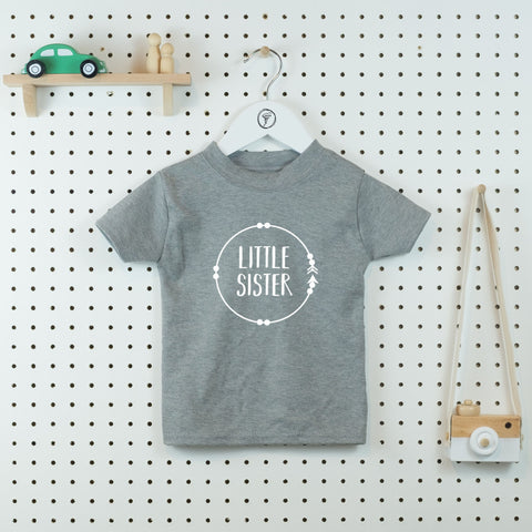 Boho Circle Little Sister T-shirt - Little Whirlwinds cool baby clothes and cool older kids clothes and gifts