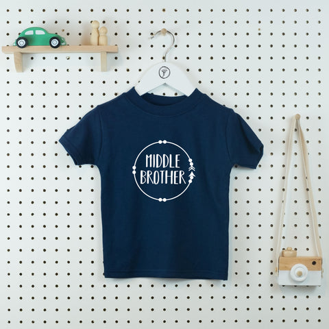 Boho Circle Middle Brother T-shirt - Little Whirlwinds cool baby clothes and cool older kids clothes and gifts