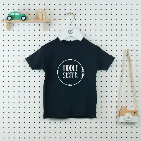 Boho Circle Middle Sister T-shirt - Little Whirlwinds cool baby clothes and cool older kids clothes and gifts