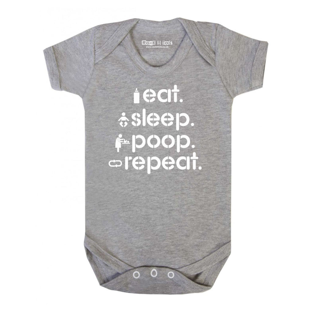 Eat, Sleep, Poop, Repeat Bodysuit 3-6m - Little Whirlwinds cool baby clothes and cool older kids clothes and gifts