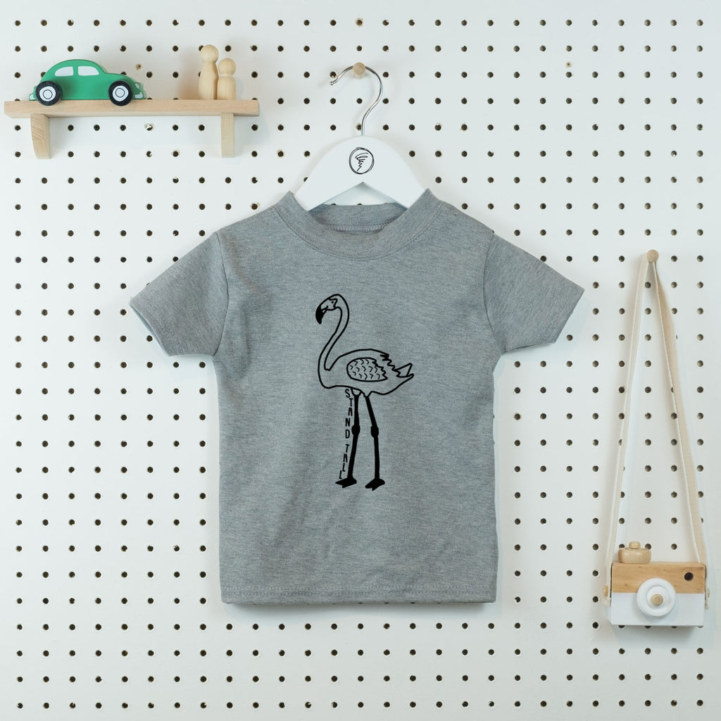 Stand Tall Flamingo Kids' T-shirt - Little Whirlwinds cool baby clothes and cool older kids clothes and gifts