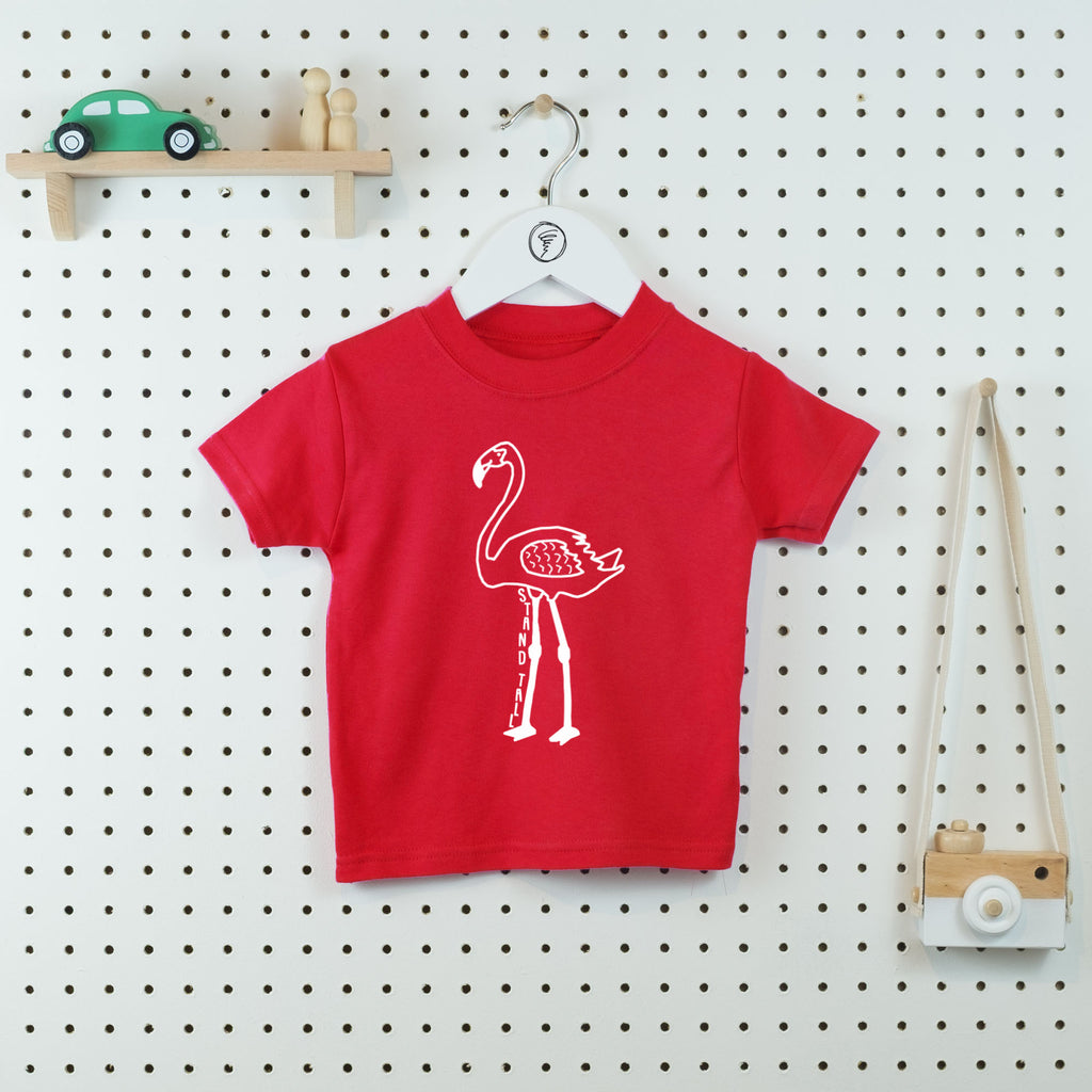 3a173fb5 Stand Tall Flamingo Kids' T-shirt - Little Whirlwinds cool baby clothes and  cool