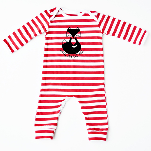 Little Fox Cub Personalised Red Striped Romper - Little Whirlwinds cool baby clothes and cool older kids clothes and gifts