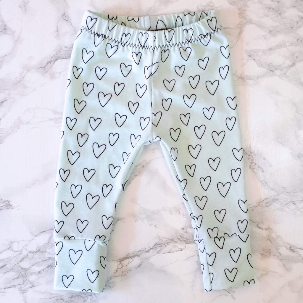 Mint Hearts Baby & Kids' Leggings - Little Whirlwinds cool baby clothes and cool older kids clothes and gifts