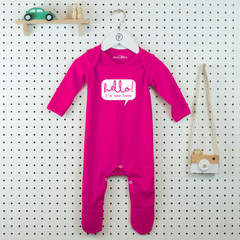 Hello I'm New Here Baby Grow - Little Whirlwinds cool baby clothes and cool older kids clothes and gifts