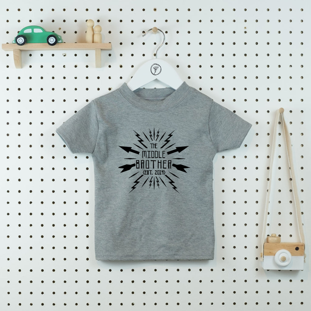 Lightning Middle Brother T-shirt - Little Whirlwinds cool baby clothes and cool older kids clothes and gifts