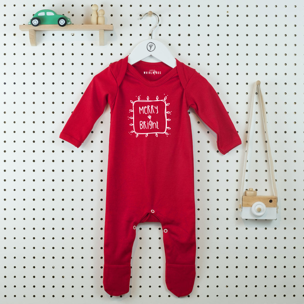 Merry & Bright Christmas Baby Grow - Little Whirlwinds cool baby clothes and cool older kids clothes and gifts