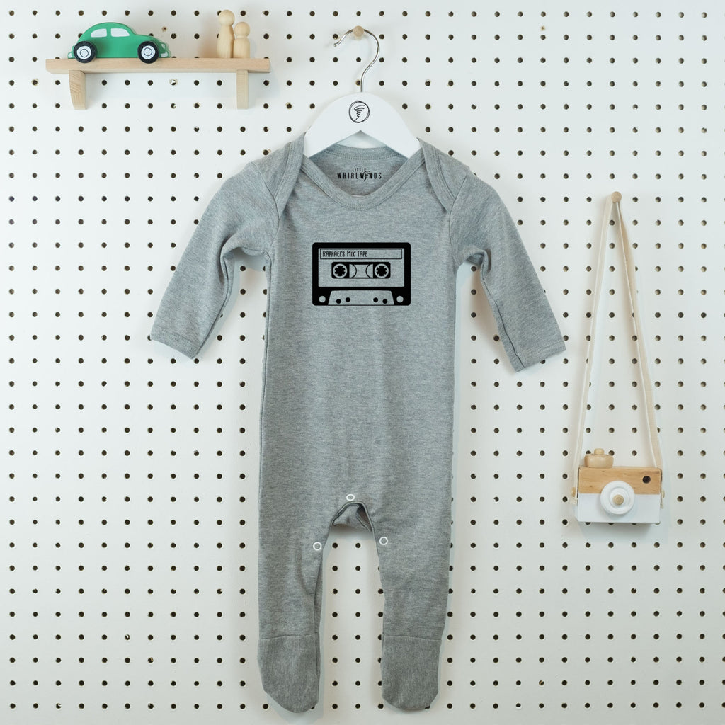 Mix Tape Personalised Baby Grow - Little Whirlwinds cool baby clothes and cool older kids clothes and gifts