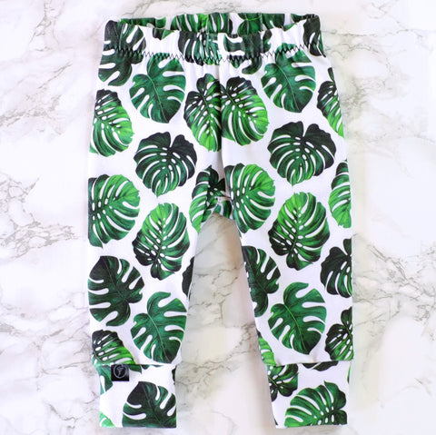 Monstera Leaf Baby & Kids' Leggings - Little Whirlwinds cool baby clothes and cool older kids clothes and gifts