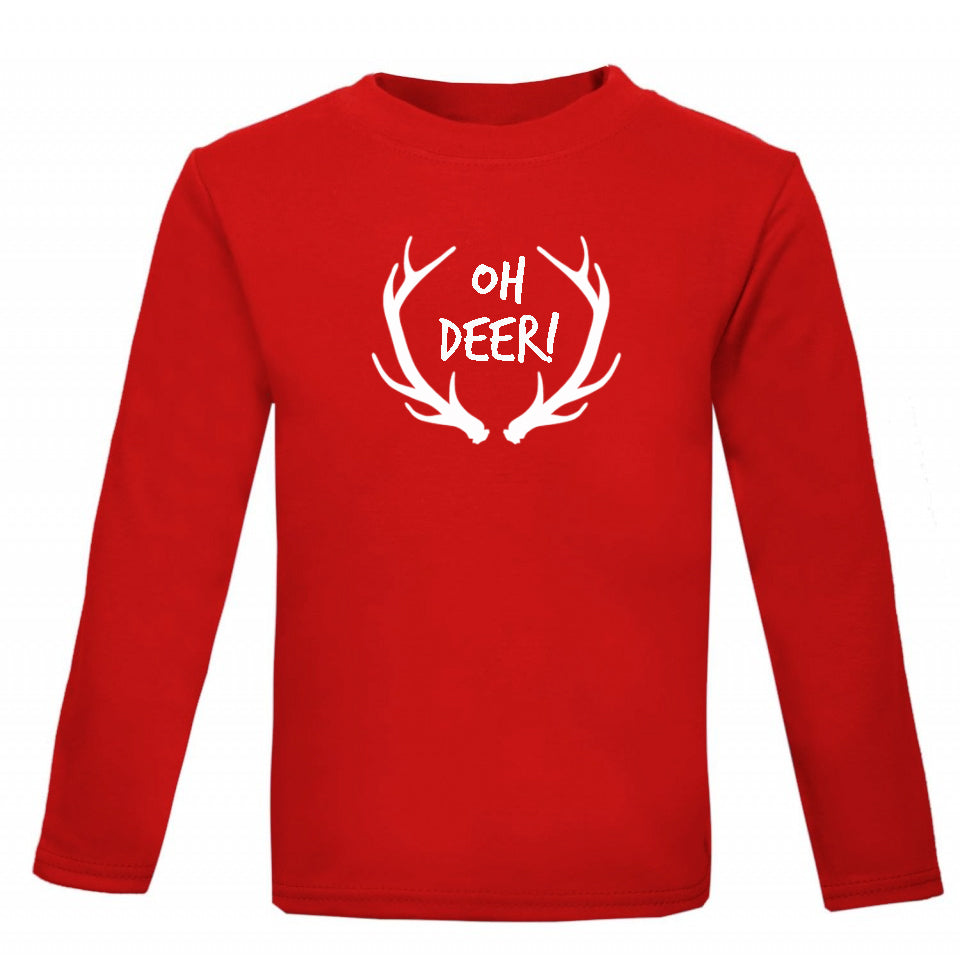 Oh deer! Kids' Antler Print Christmas T-shirt - Little Whirlwinds cool baby clothes and cool older kids clothes and gifts