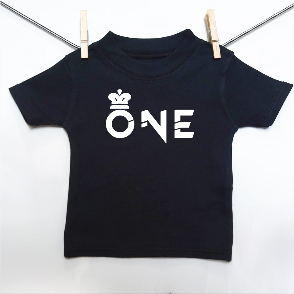 Crown 1st Birthday 'ONE' T-shirt - Little Whirlwinds cool baby clothes and cool older kids clothes and gifts