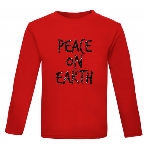 Peace on Earth - glitter kids' T-shirt - Little Whirlwinds cool baby clothes and cool older kids clothes and gifts