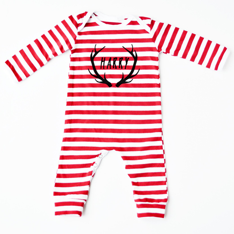 Antlers Personalised Christmas Red Striped Romper