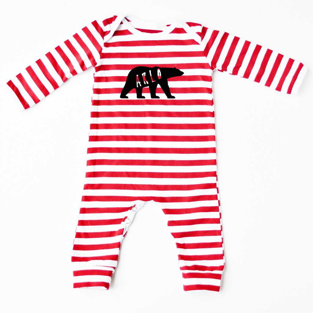 Polar Bear Personalised Christmas Red Striped Romper - Little Whirlwinds cool baby clothes and cool older kids clothes and gifts