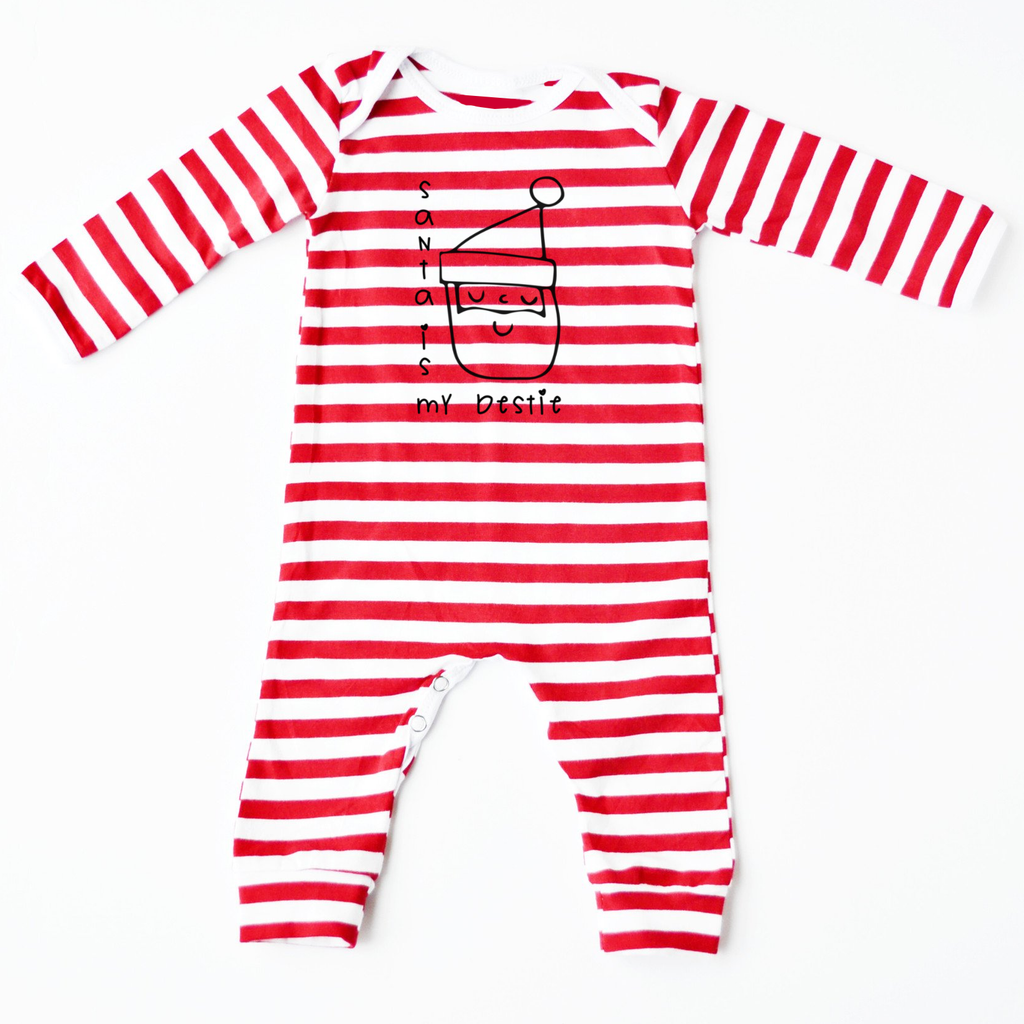 Santa is my Bestie Red Striped Romper - Rock It Tots cool baby clothes and cool kids clothes made in Scotland Britain UK