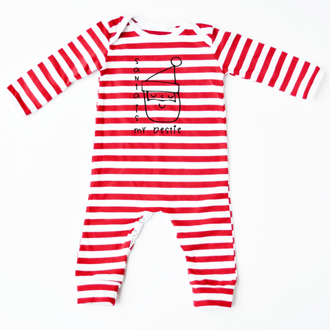 Santa is my Bestie Red Striped Romper - Little Whirlwinds cool baby clothes and cool older kids clothes and gifts