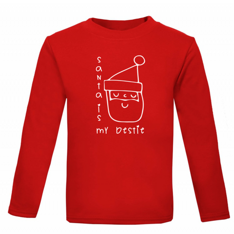 Santa is my Bestie Kids' Long-Sleeved T-shirt