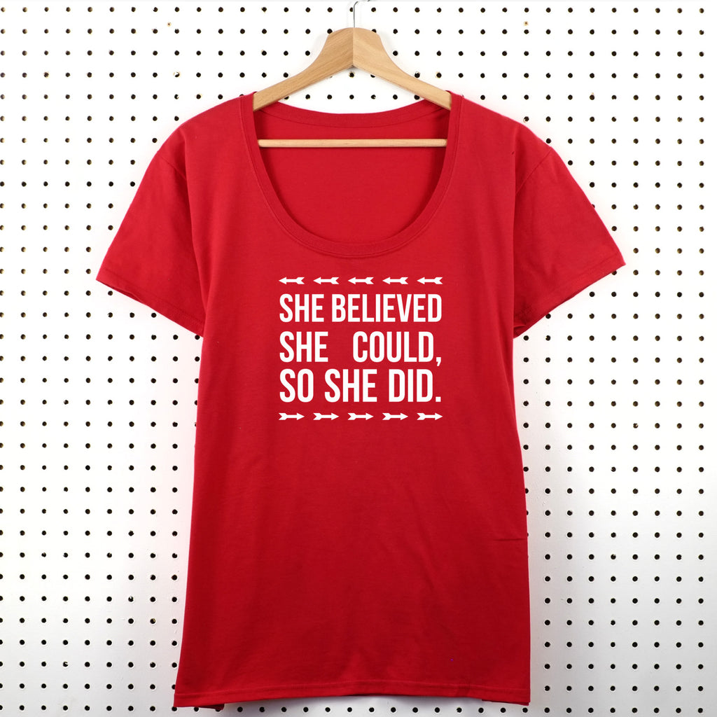 She Believed She Could So She Did Women's T-Shirt - Little Whirlwinds cool baby clothes and cool older kids clothes and gifts