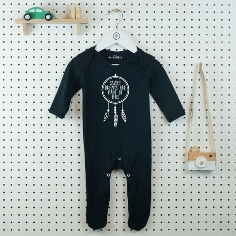 Sweet Dreams Dreamcatcher Baby Grow - Little Whirlwinds cool baby clothes and cool older kids clothes and gifts