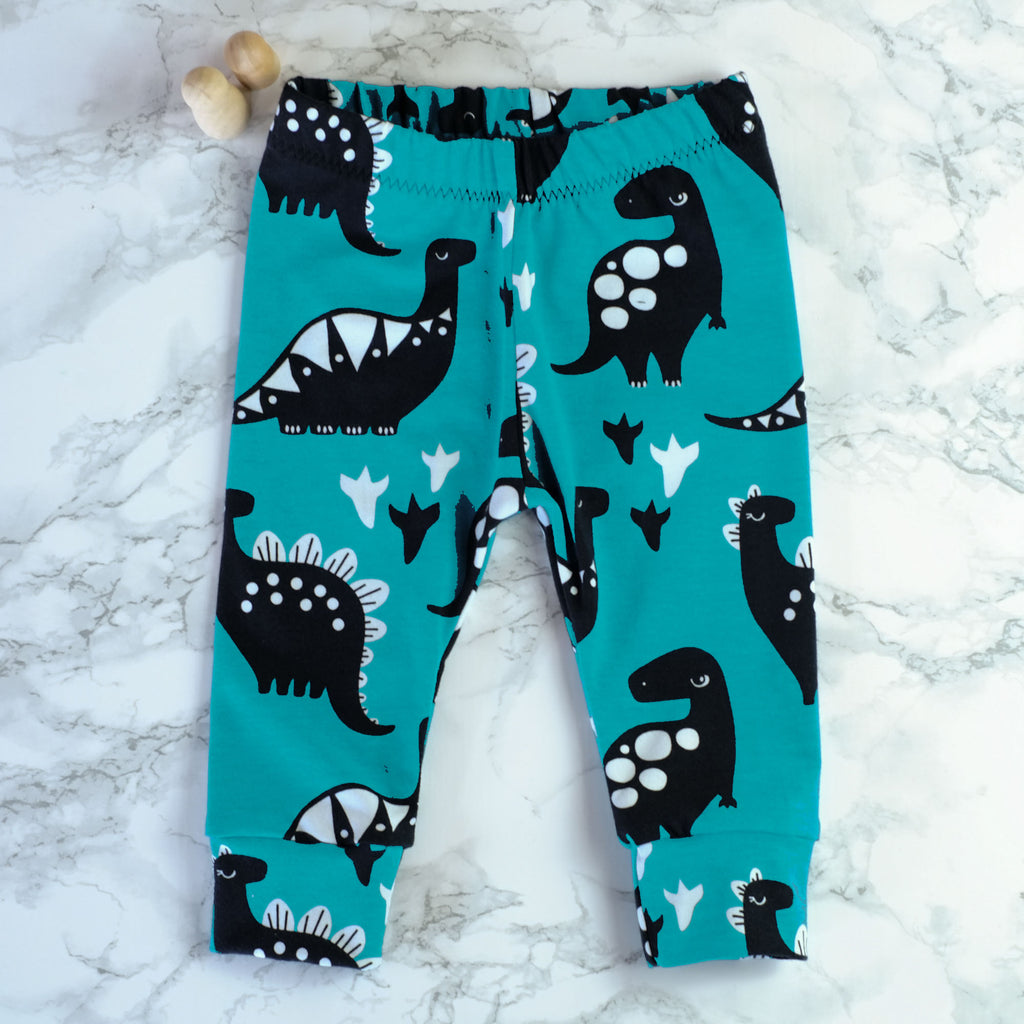 Turquoise Dinos Baby & Kids' Leggings - Little Whirlwinds cool baby clothes and cool older kids clothes and gifts