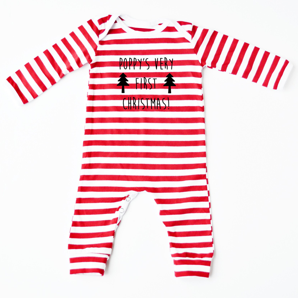 My Very First Christmas Personalised Red Striped Romper - Little Whirlwinds cool baby clothes and cool older kids clothes and gifts