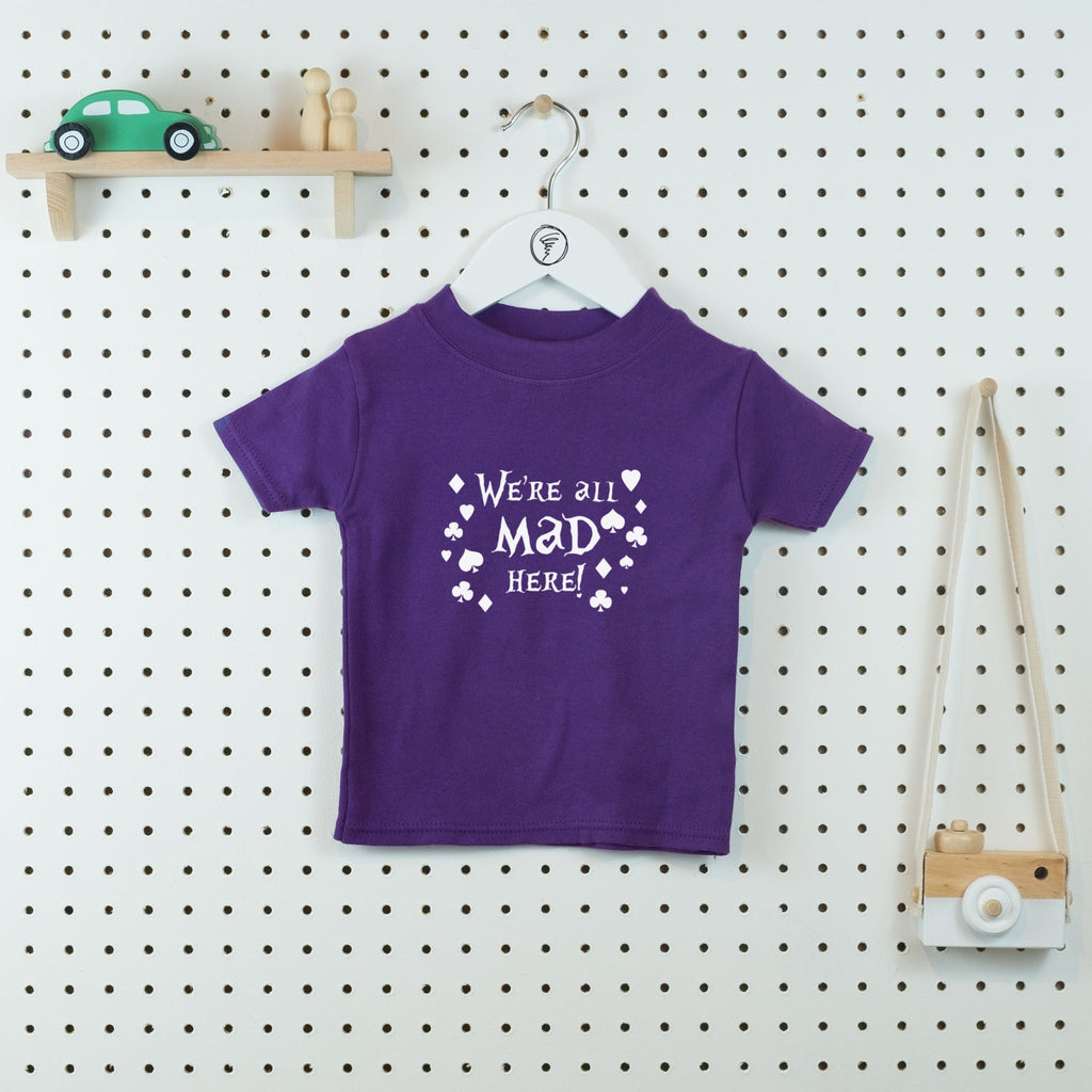 We're all Mad Here Kids' T-shirt - Little Whirlwinds cool baby clothes and cool older kids clothes and gifts