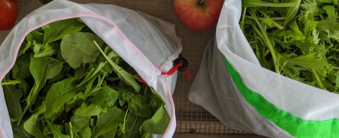 two mesh bags of spinach