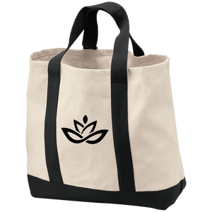 2-Tone Twill Black Lotus Shopping Tote