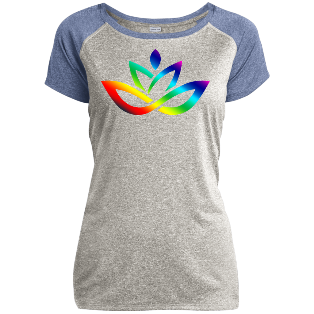 Ladies Heather on Heather Performance T-Shirt Rainbow Lotus