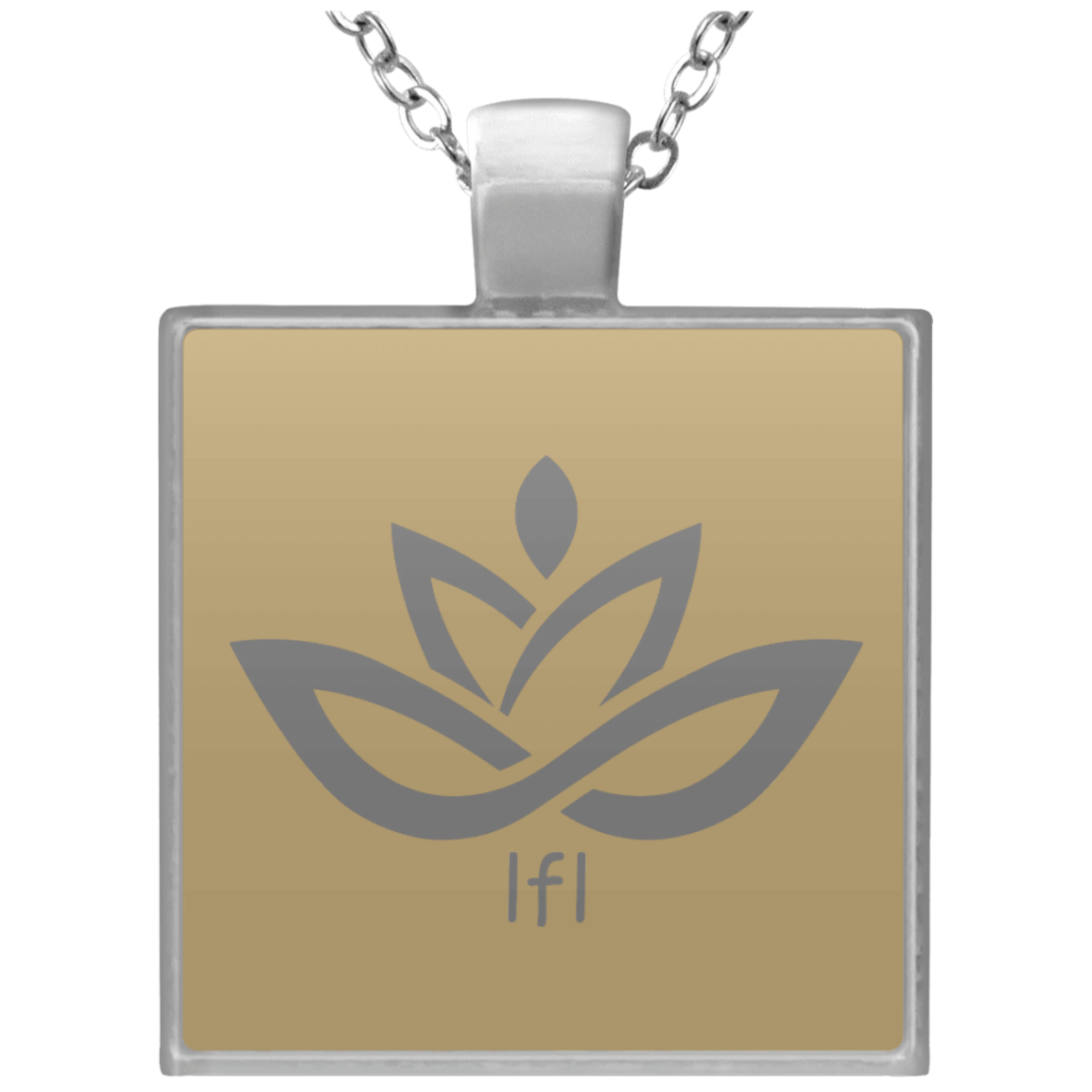 Square Necklace Silver Lotus